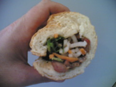 (Blurry) Roasted Pork Bahn Mi Goodness