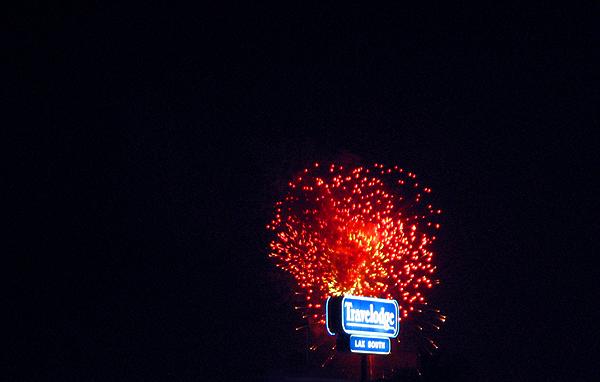 Fireworks From An Airport Parking Garage.