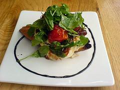 Goat's cheese crostini with cherry tomatoes & balsamic reduction at Indigo Yard, Edinburgh