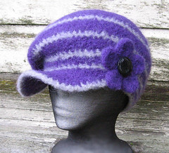 felted crochet newsboy hat with flower pin