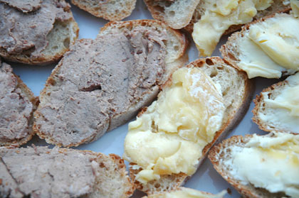 Tartines with pate and cheese