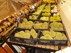 Kuala Lumpur Carrefour durians July 2006