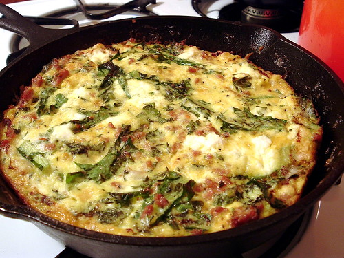 frittata with herbs, greens, sausage and ricotta