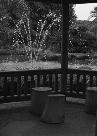 噴水とベンチ