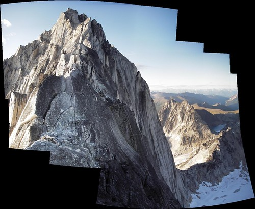 [Panorama of upper Kain route and NE ridge in profile