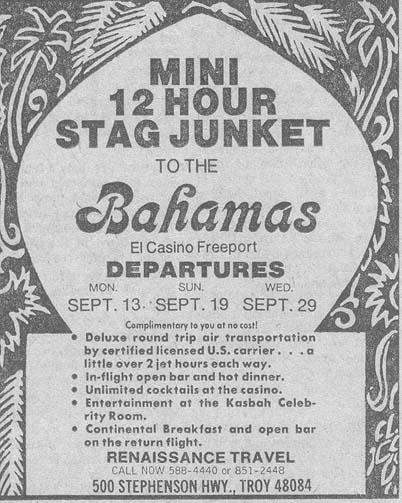 Vintage Ad #49 - Mini 12 Hour Stag Junket to the Bahamas