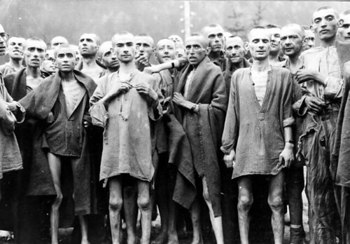 Liberated prisoners in 1945 at Ebensee concentration camp