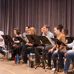 The cast at the first rehearsal for COMPANY at Writers Theatre