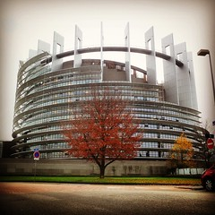 Autumn strikes in front of the European Parliament building in Strasbourg