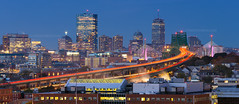 Morning Commute, Tobin Bridge over Chelsea Massachusetts with Pink Zakim Bridge and Boston Skyline photo by Greg DuBois Photography