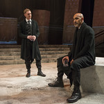 Scott Parkinson (Cassius) and Kareem Bandealy (Brutus) in JULIUS CAESAR at Writers Theatre. Photo by Michael Brosilow.