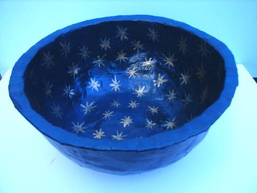 Blue Paper Mache Bowl