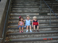 Zoe Lola and Ryan on stairs