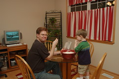 John and Ean Stark eating some popcorn. Ummy!
