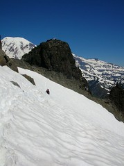 Spotly on his favorite traverse. Summit block in the background
