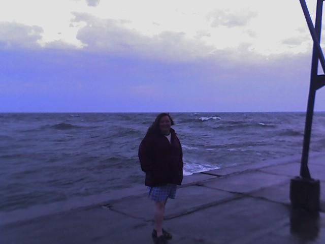maggie on the pier, heavy seas 1