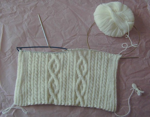 White Sweater Front in progress