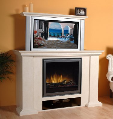 Napoli plasma fireplace open in sitting room