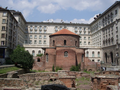 Early Church surrounded by Communist Buildings