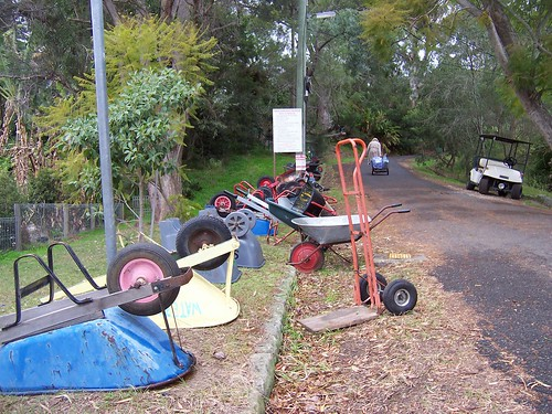 Residents' wheelbarrows at the Dangar Island ferry wharf