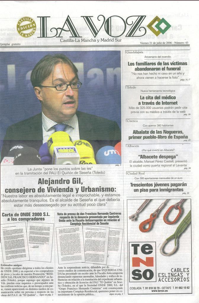 Portada de La Voz De La Sagra - 21 de julio de 2006