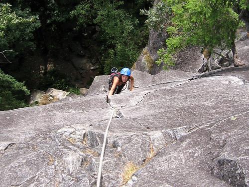 Rosann climbing the Pisces hand crack