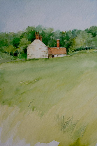 Stone Cottages Near Etchingham (Watercolour)