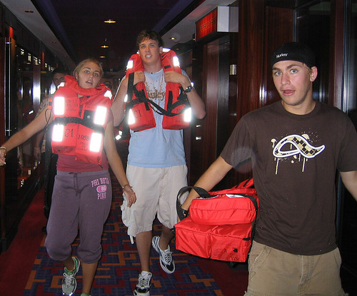 Katelyn, Alex and Taylor heading for Muster Station