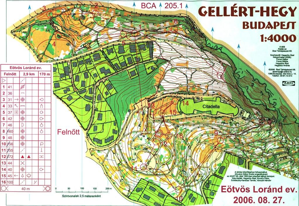 Eötvös Lóránd Ev - Gellért-hegy térkép