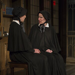 Eliza Stoughton (Sister James) and Karen Janes Woditsch (Sister Aloysius) in DOUBT: A PARABLE at Writers Theatre. Photo by Michael Brosilow.