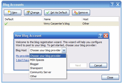 Word 2007 blog setup screen