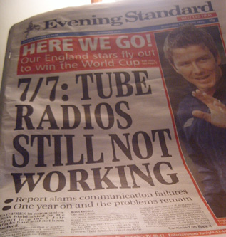 Tube Radios Still Not Working - Evening Standard headline