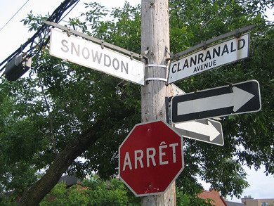 Street sign in Montreal