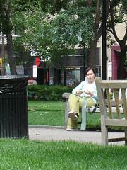 a stranger knits in public