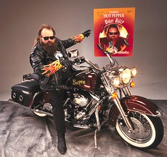 Biker Billy with the bike and seed packet photo by Burpee Gardens