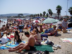 Crowded beach at La Ciotat