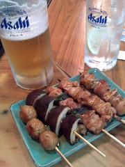 Draft beer and assorted yakitorki skewers...always a magical combination