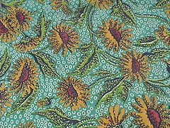 turquoise with yellow daisies