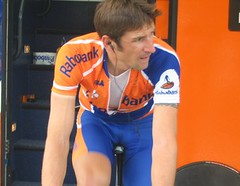 Rabobank's Denis Mencov warming up
