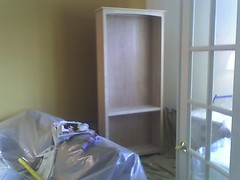 Preparing to paint the bookcase