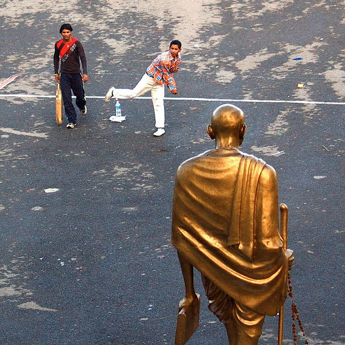 Cricket near Shimla in the shadow of Gandhi