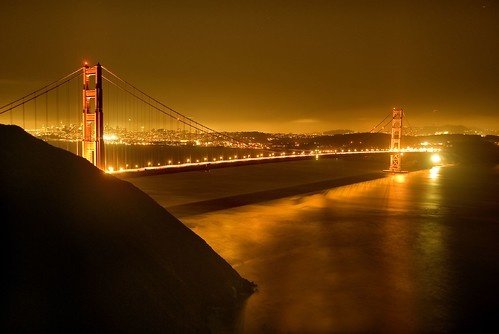 pictures of the golden gate bridge at night. Night Bridge, photo by Harold