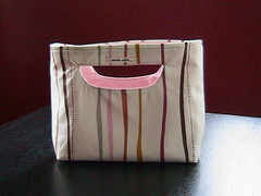 handmade tote, cream w/colored stipes