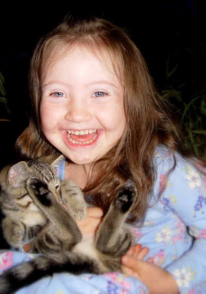 Sweet girl and her kitty