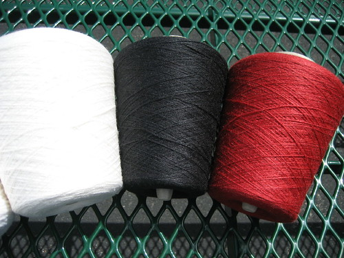 JaggerSpun Zephyr laceweight in white, ebony and cinnabar
