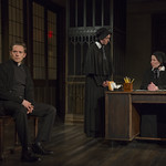 Steve Haggard (Father Flynn), Eliza Stoughton (Sister James) and Karen Janes Woditsch (Sister Aloysius) in DOUBT: A PARABLE at Writers Theatre. Photo by Michael Brosilow.
