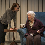 Kate Fry (Tess) and Mary Ann Thebus (Marjorie) in MARJORIE PRIME at Writers Theatre. Photo by Michael Brosilow.