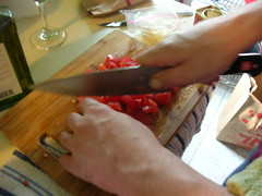 Danny cutting tomatoes