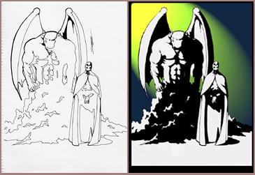 Dibujo de Syhan el Dios y acólito color y blanco y negro