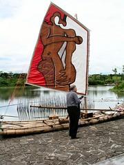 小船其實是手工竹筏, 找了好多人落款, 入鏡的好像是某詩人??